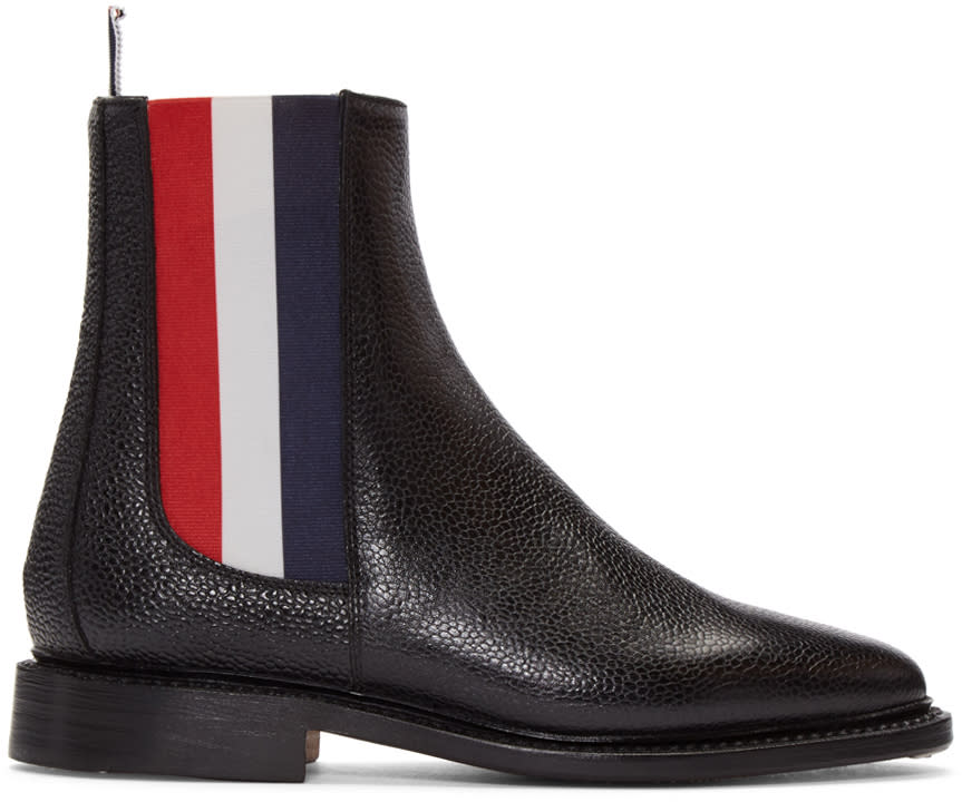 Thom Browne Black Leather Chelsea Boots