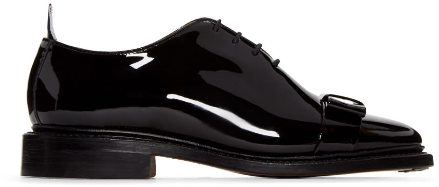 Thom Browne Black Patent Leather Bow Oxfords