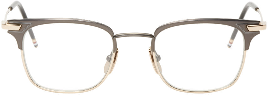 Thom Browne Gunmetal and Gold Square Tb-102 Glasses