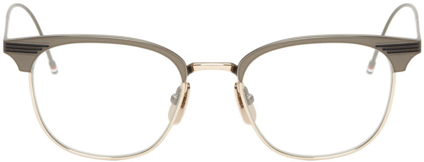 Thom Browne Gunmetal and Gold Round Tb-104 Glasses