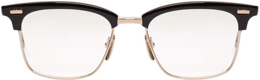 Thom Browne Navy and Gold Horn-rimmed Glasses