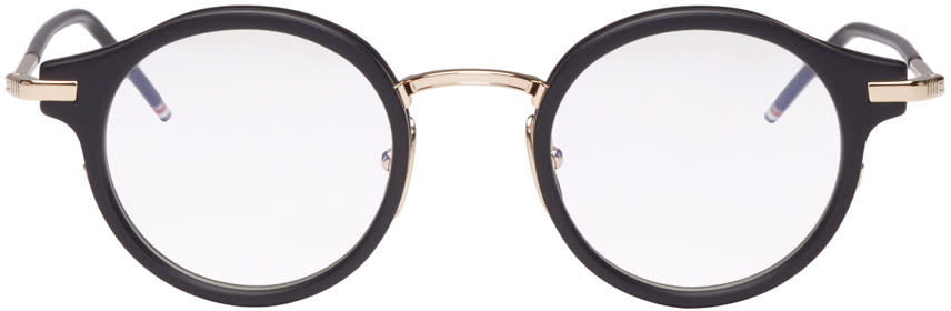 Image of Thom Browne Black and Gold Round Glasses