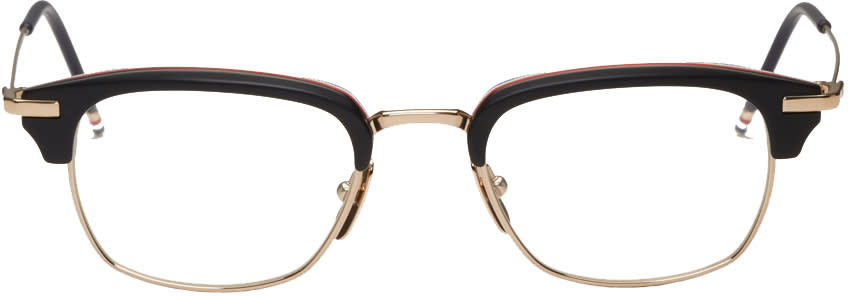 Thom Browne Black and Gold Horn-rimmed Glasses