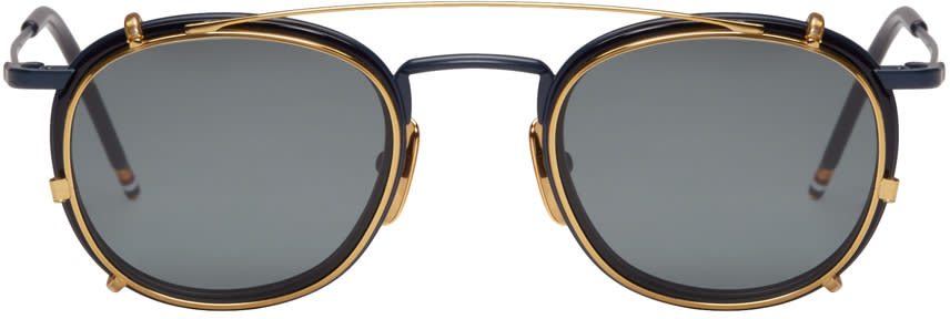 Thom Browne Navy and Gold Clip-on Sunglasses