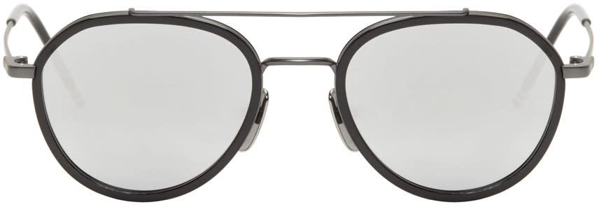 Image of Thom Browne Black and Dark Grey Tb-801 Sunglasses