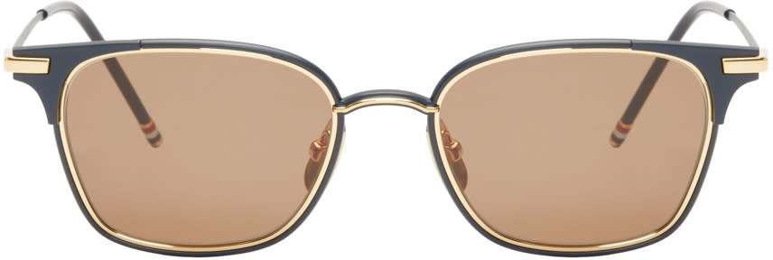 Thom Browne Navy and 18k Gold Square Sunglasses