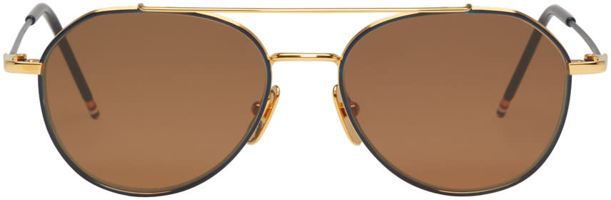 Thom Browne Navy Tb-105 Aviator Sunglasses
