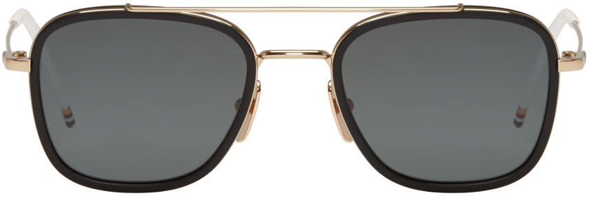 Thom Browne Black Gold-plated Tb-800 Aviator Sunglasses