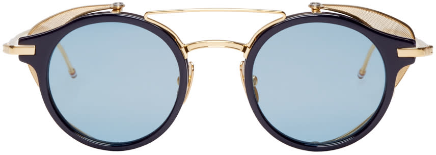 Thom Browne Navy and Gold Visor Sunglasses