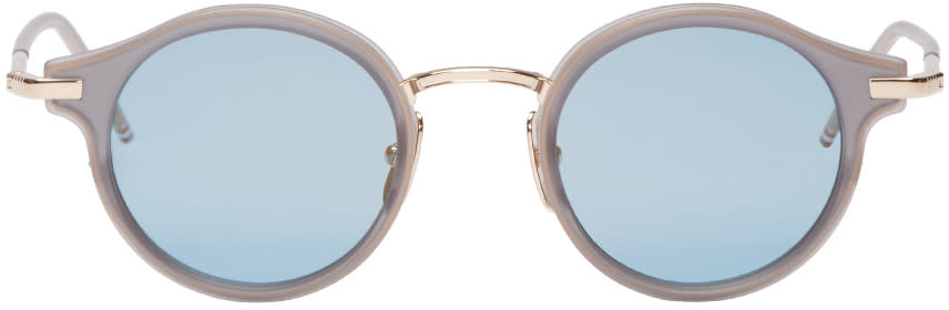 Thom Browne Grey and Gold Round Sunglasses