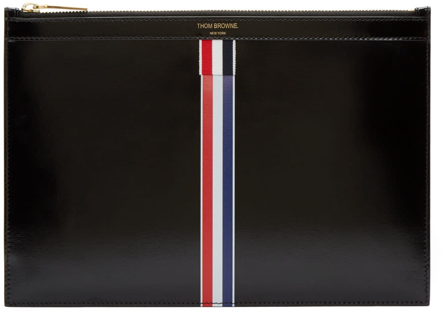 Thom Browne Black Small Striped Document Holder