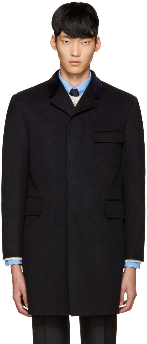 Thom Browne Grey Cashmere Chesterfield Coat