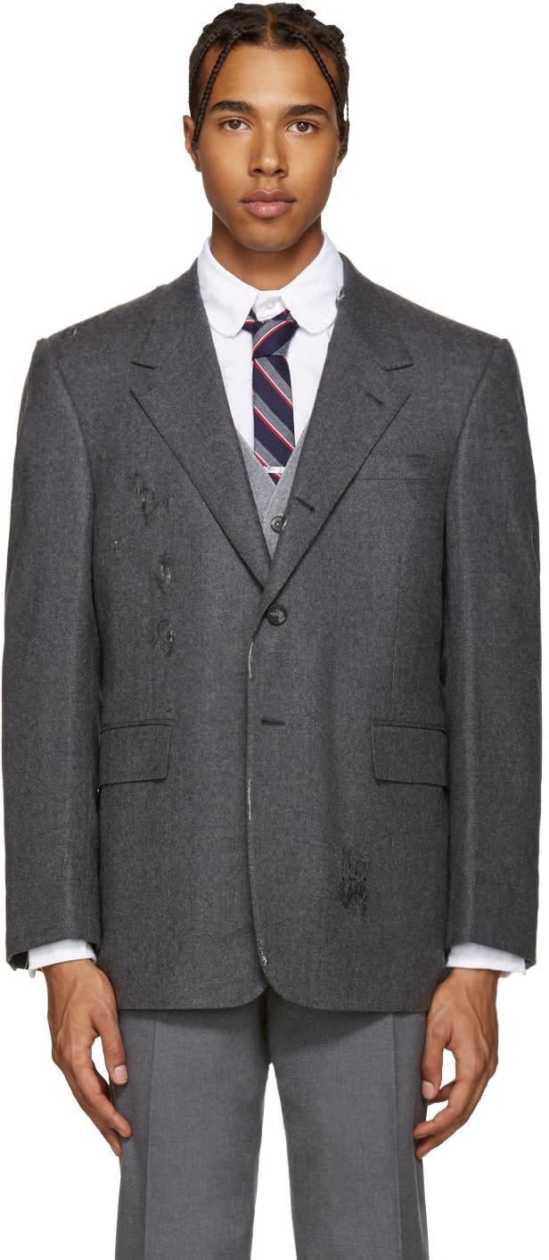 Thom Browne Grey Wide Shoulder Blazer
