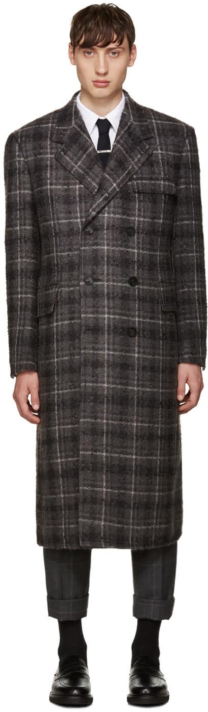Thom Browne Grey Tartan Wide Shoulder Coat