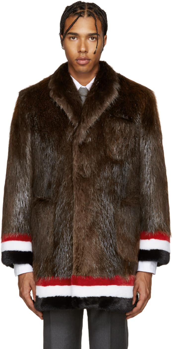 Thom Browne Brown and Tricolor Fur Coat