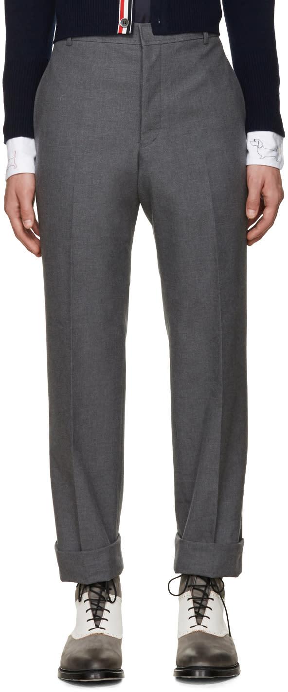 Thom Browne Grey Uncuffed Trousers