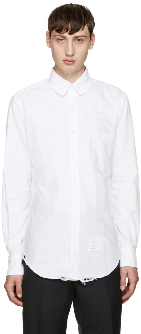 Thom Browne White Distressed Phase 3 Shirt
