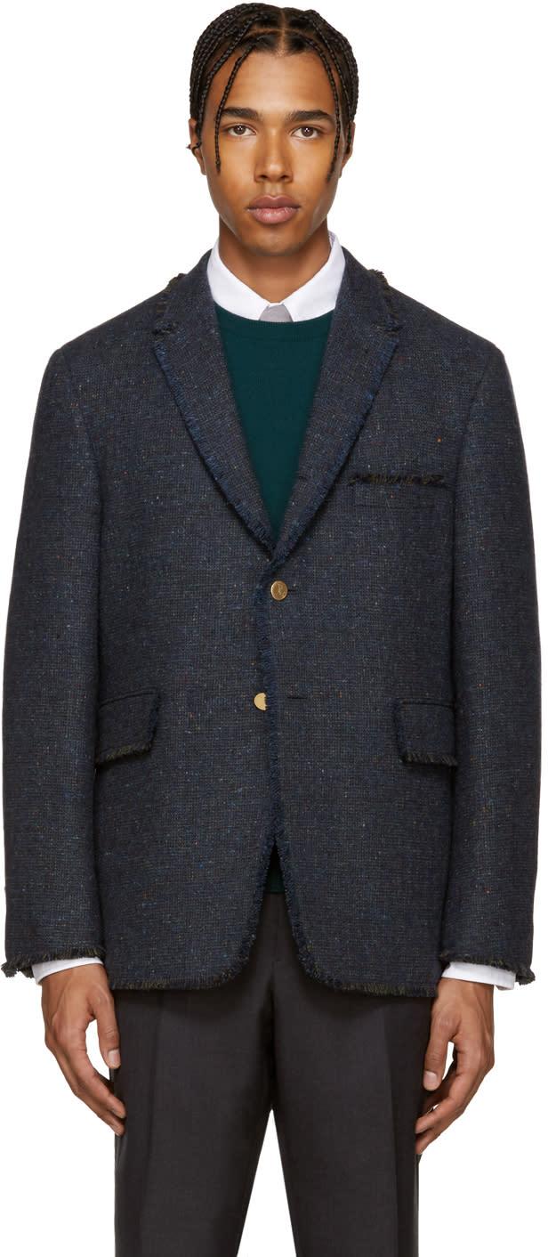 Thom Browne Navy Tweed Frayed Blazer