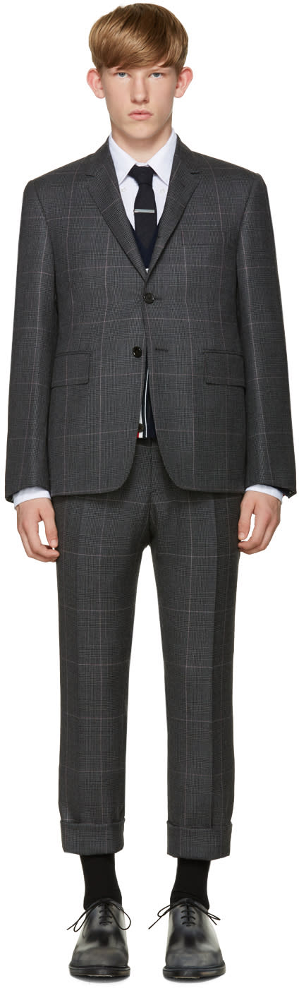 Thom Browne Grey Hairline Overcheck Classic Suit