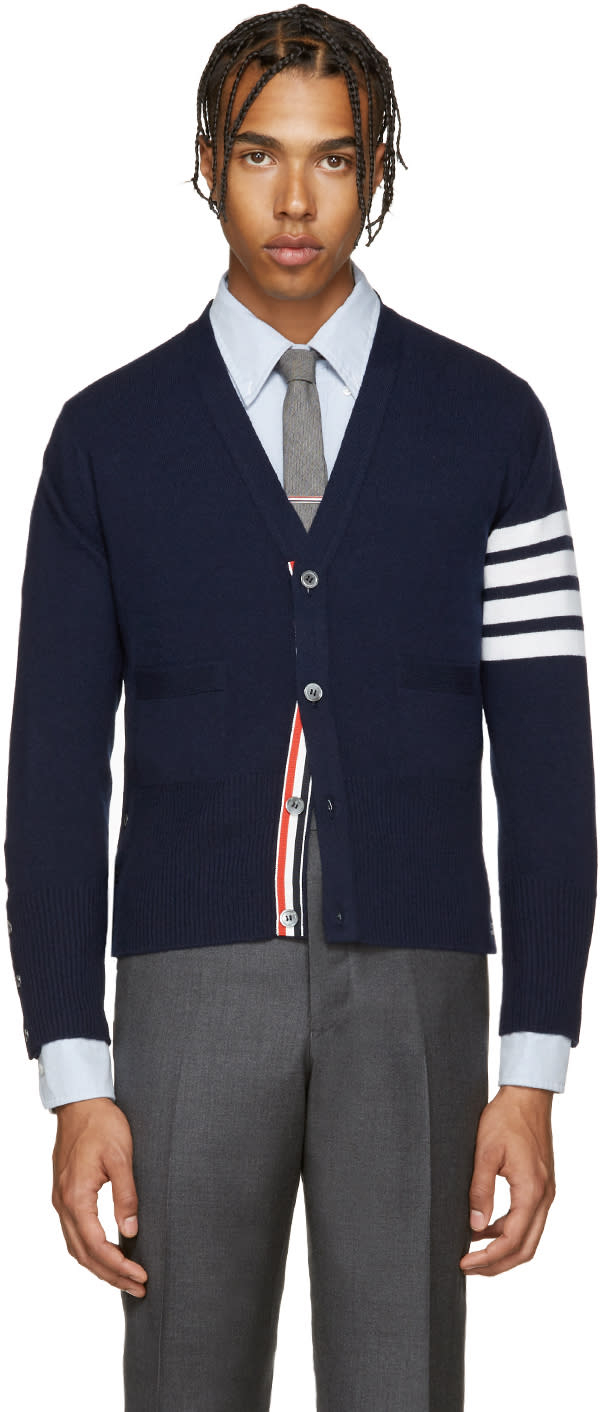 Thom Browne Navy Cashmere Cardigan