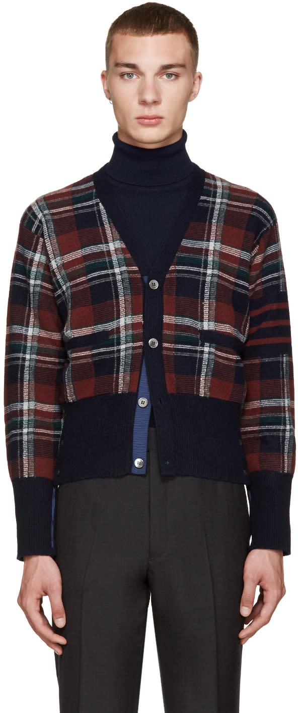Thom Browne Navy Wool Plaid Cardigan