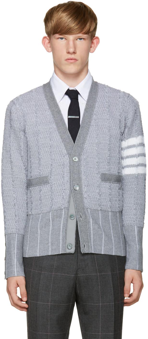 Thom Browne Grey Wool Cardigan