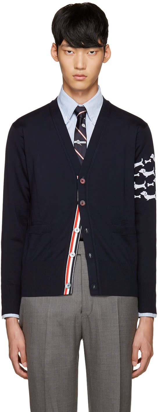 Thom Browne Navy Hector Arm Band Cardigan