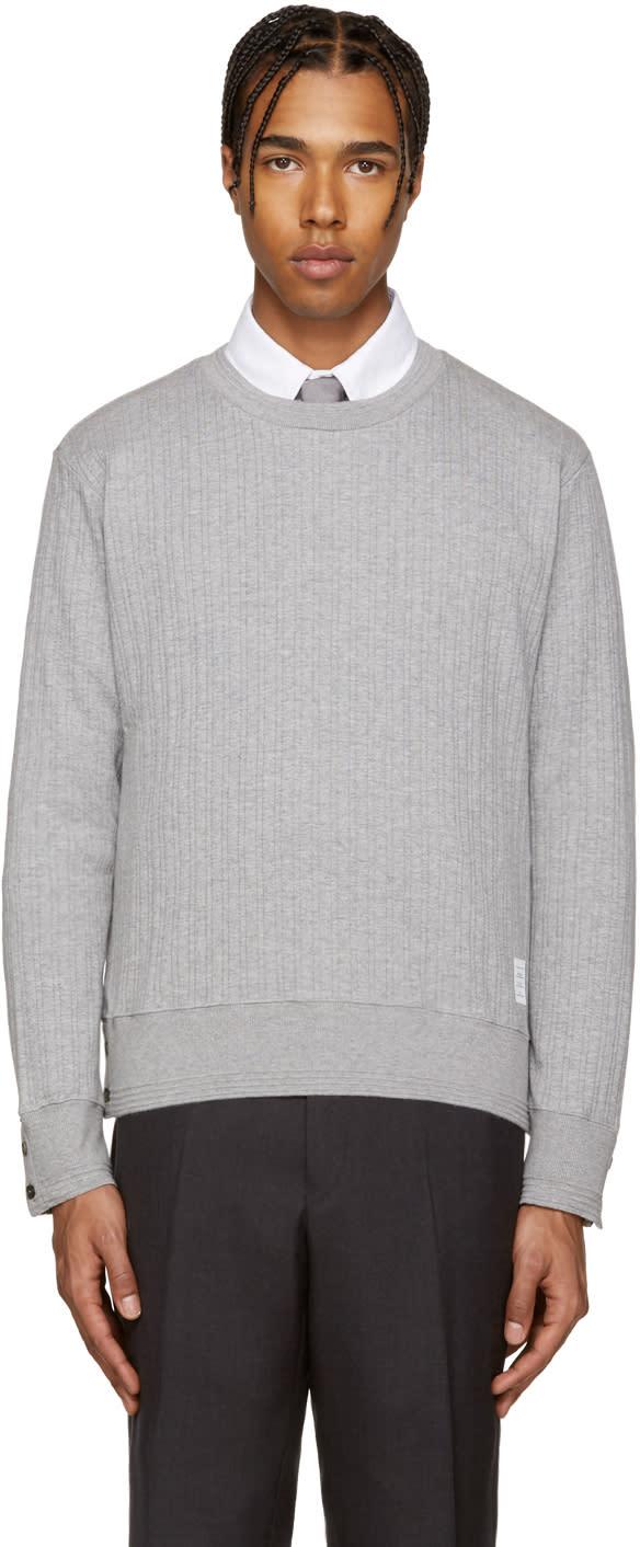 Thom Browne Grey Rib Knit Pullover