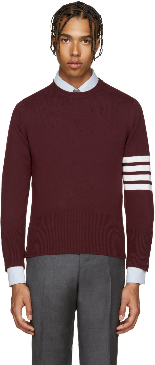 Thom Browne Burgundy Cashmere Pullover