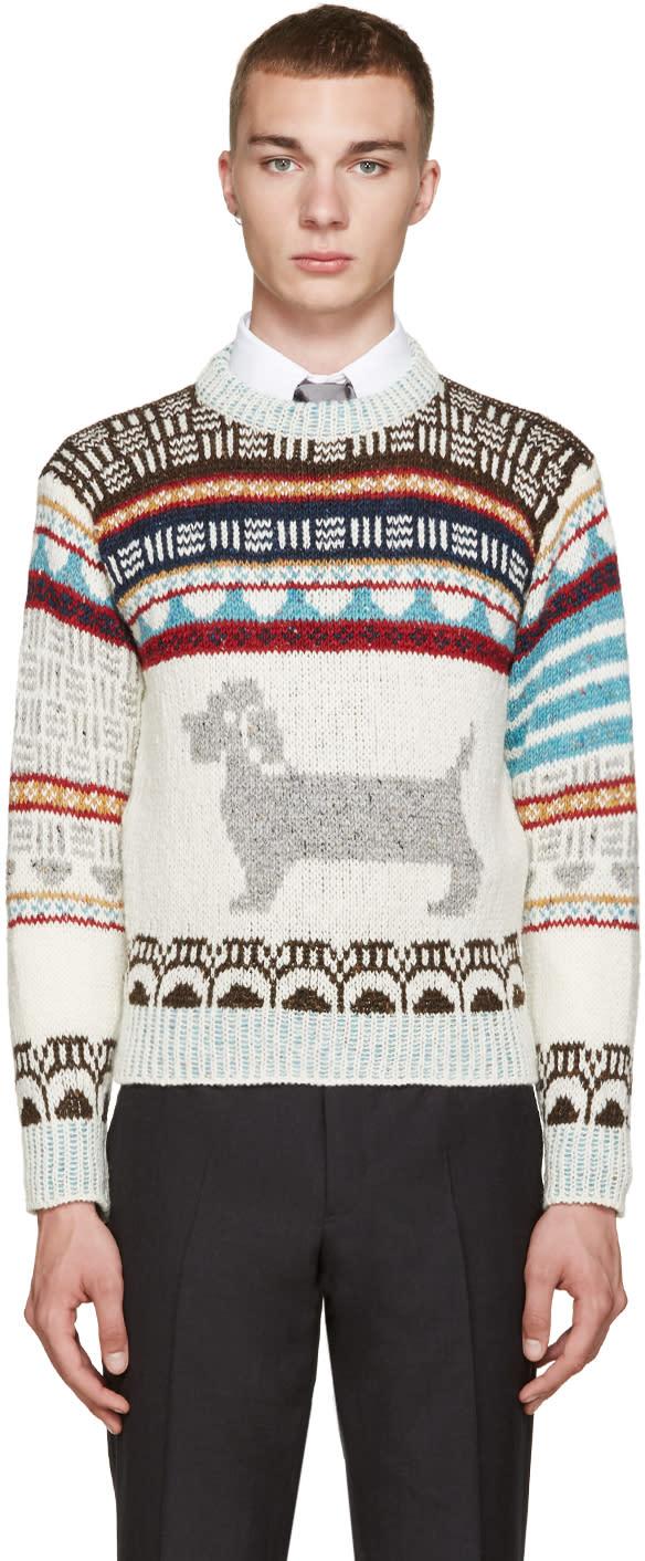 Thom Browne Ivory Fair Isle Hector Sweater