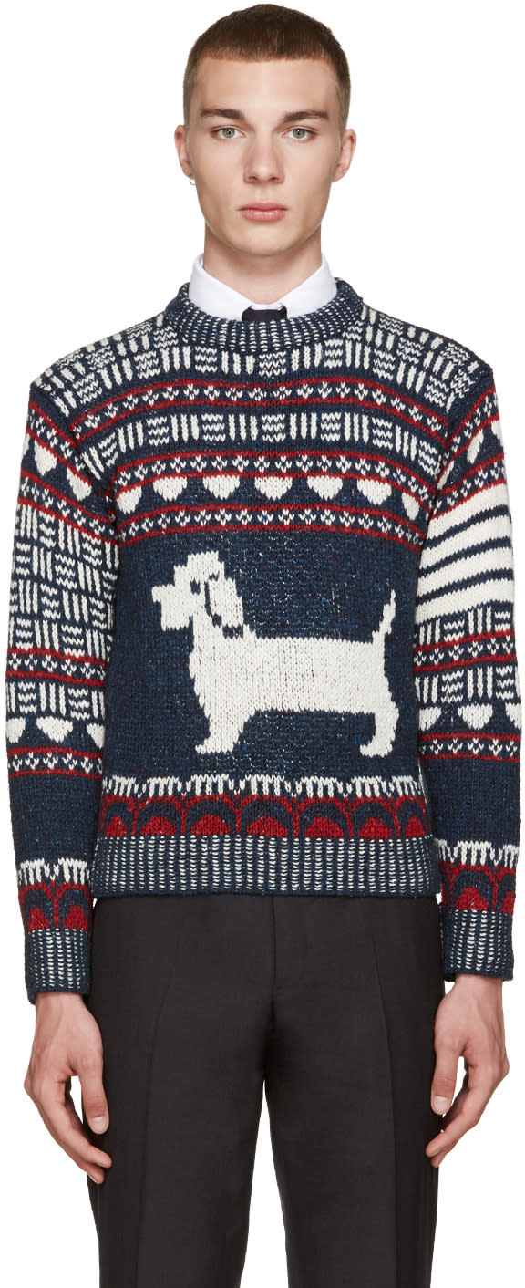 Thom Browne Navy Fair Isle Hector Sweater