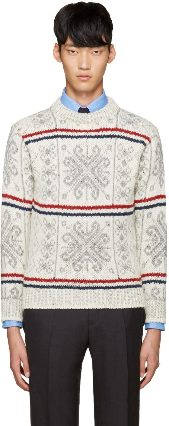 Thom Browne Ivory Fair Isle Sweater