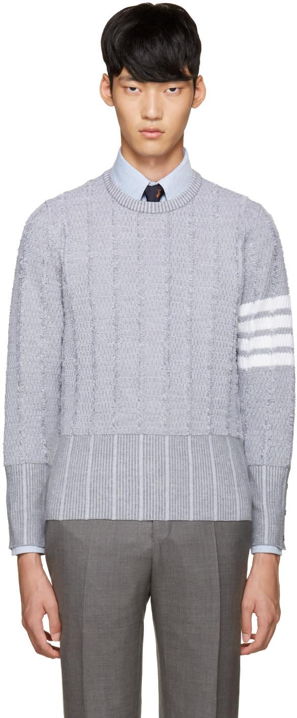 Thom Browne Grey Wool Oxford Sweater