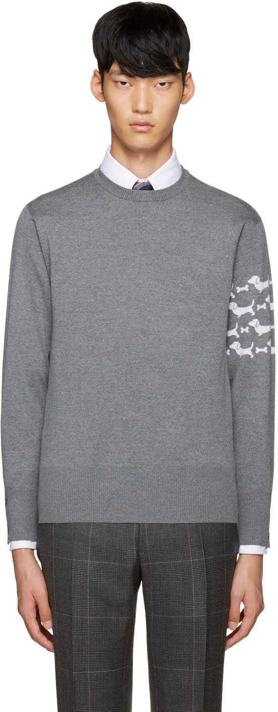 Thom Browne Grey Hector Arm Band Pullover