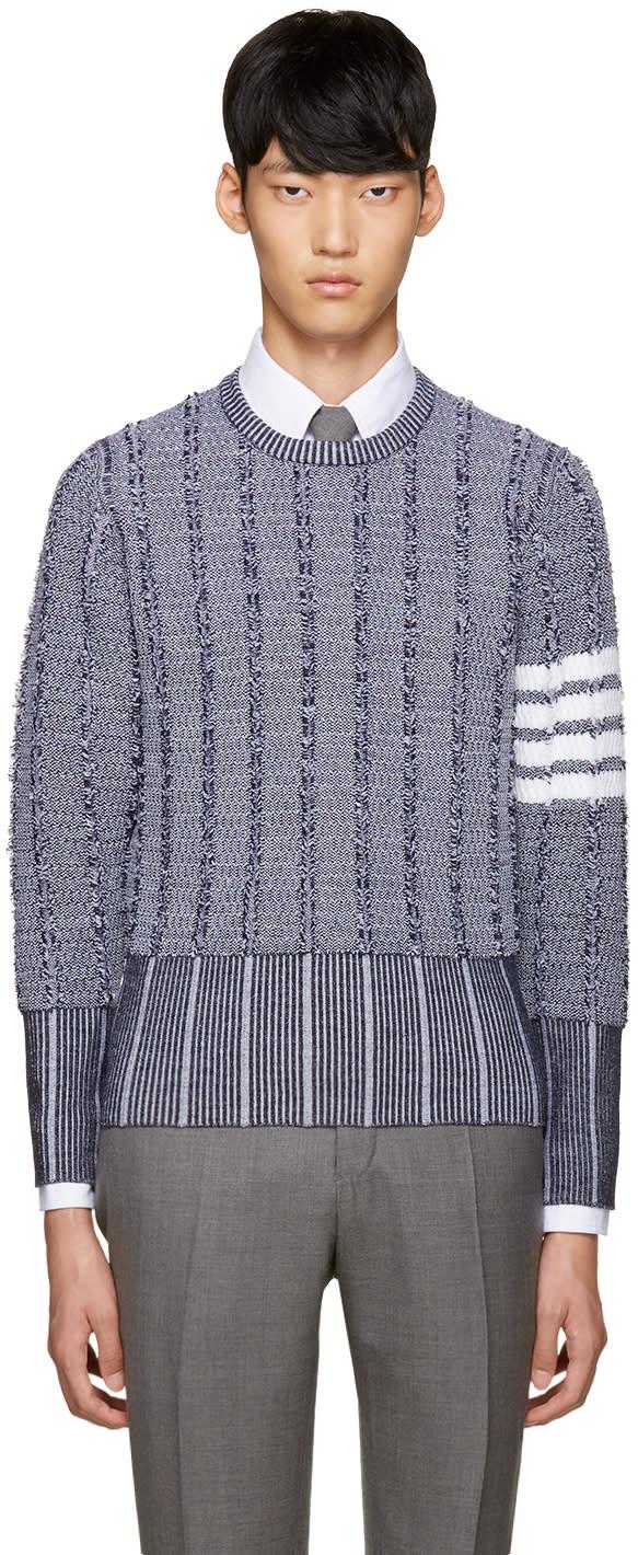 Thom Browne Navy Wool Oxford Sweater