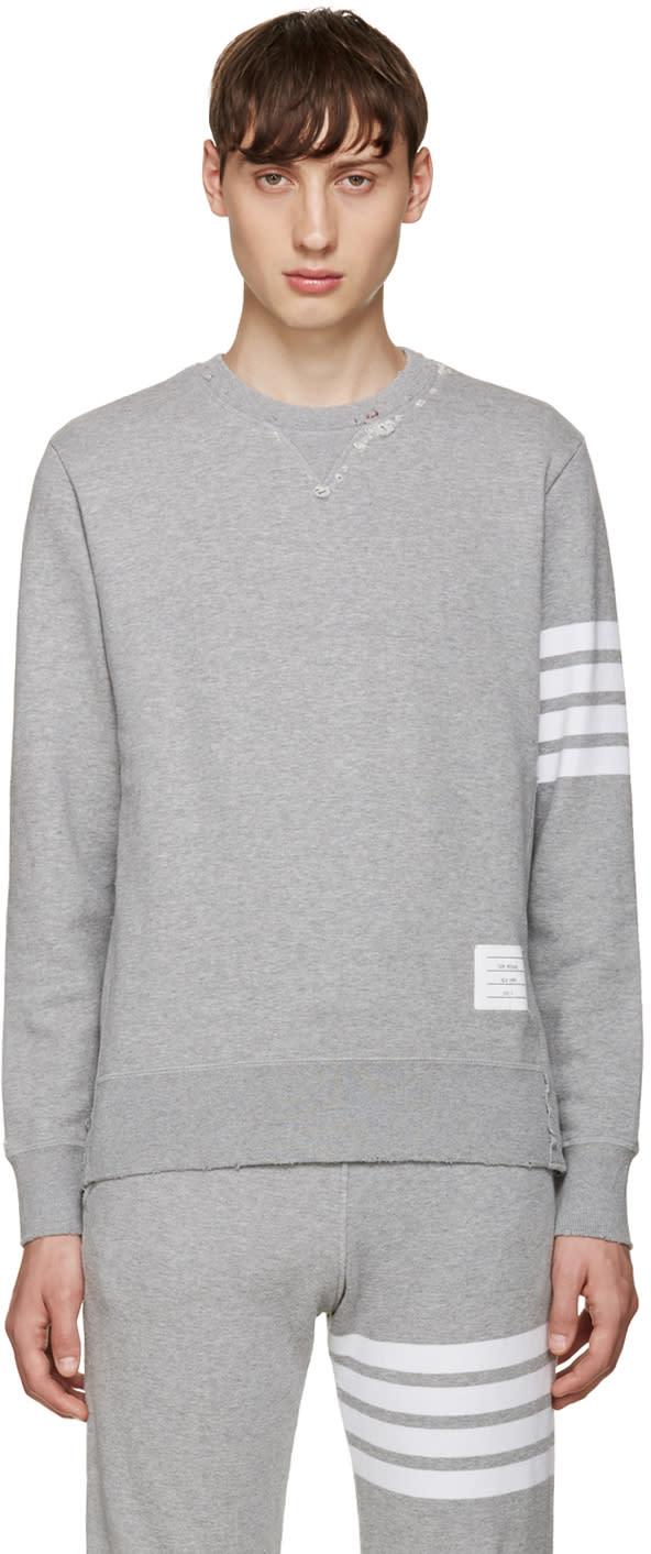 Thom Browne Grey 4 Bars Pullover