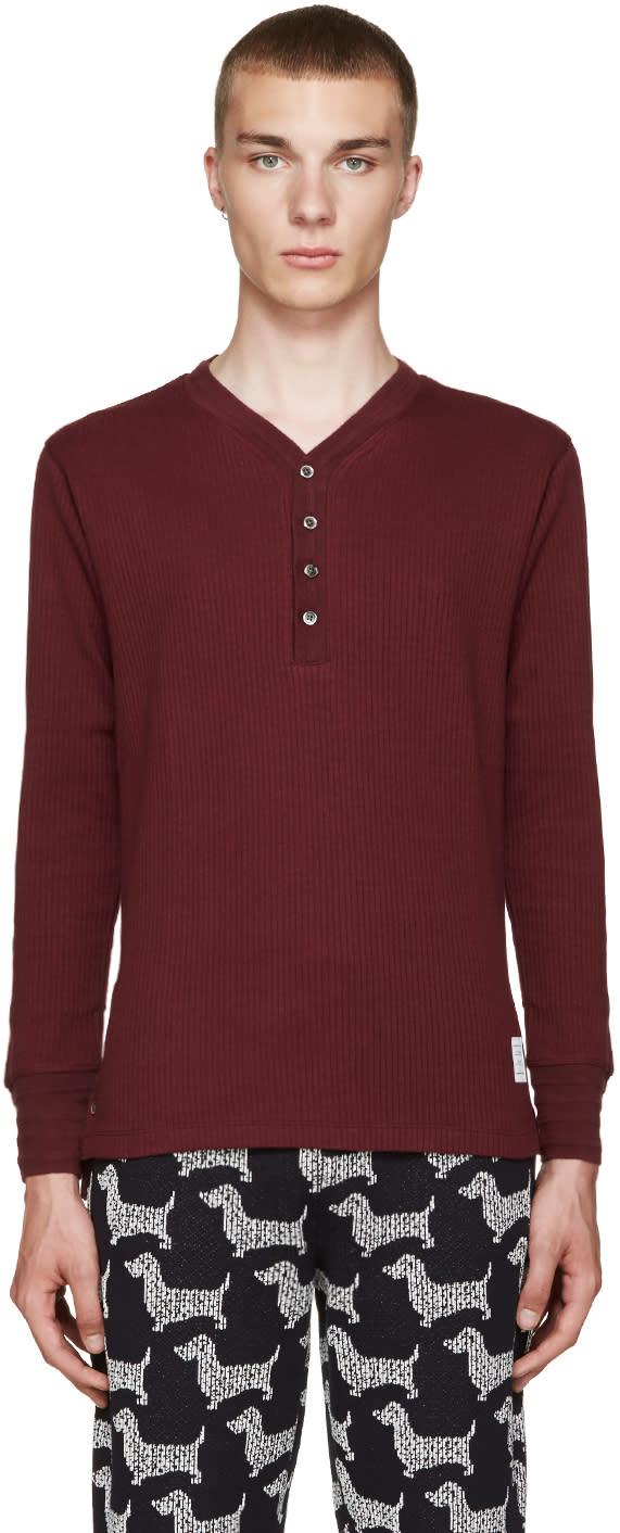 Thom Browne Burgundy Rib Knit Henley