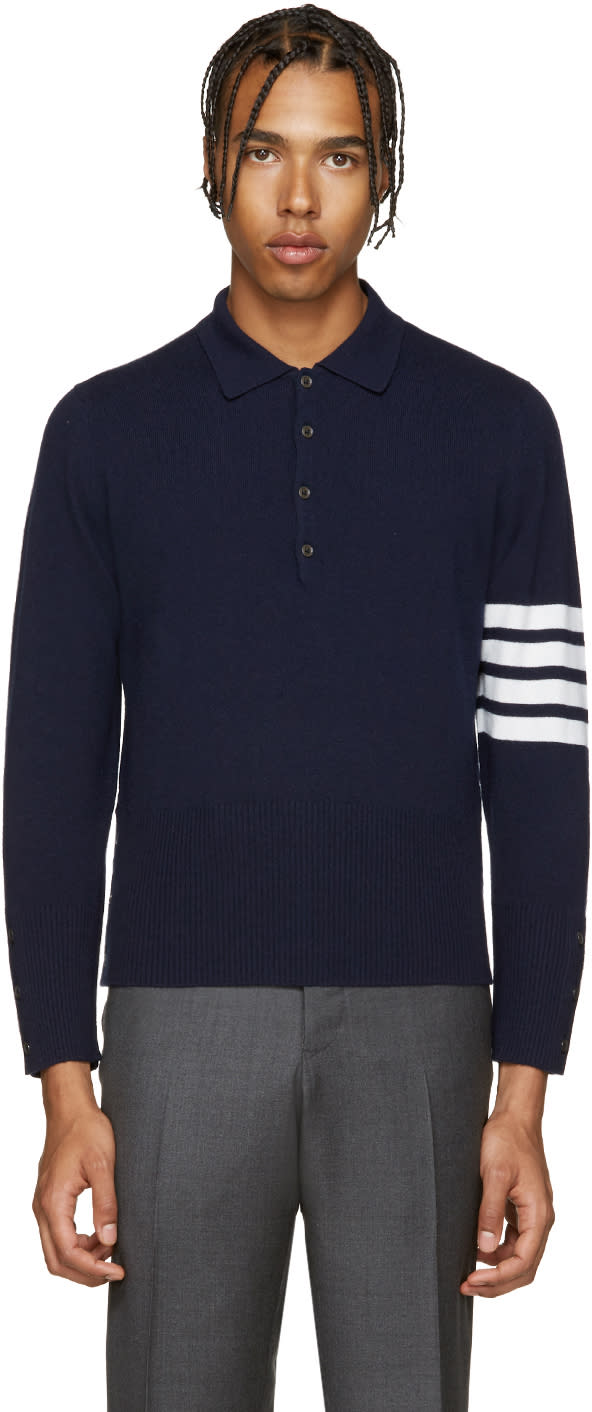 Thom Browne Navy Cashmere Polo