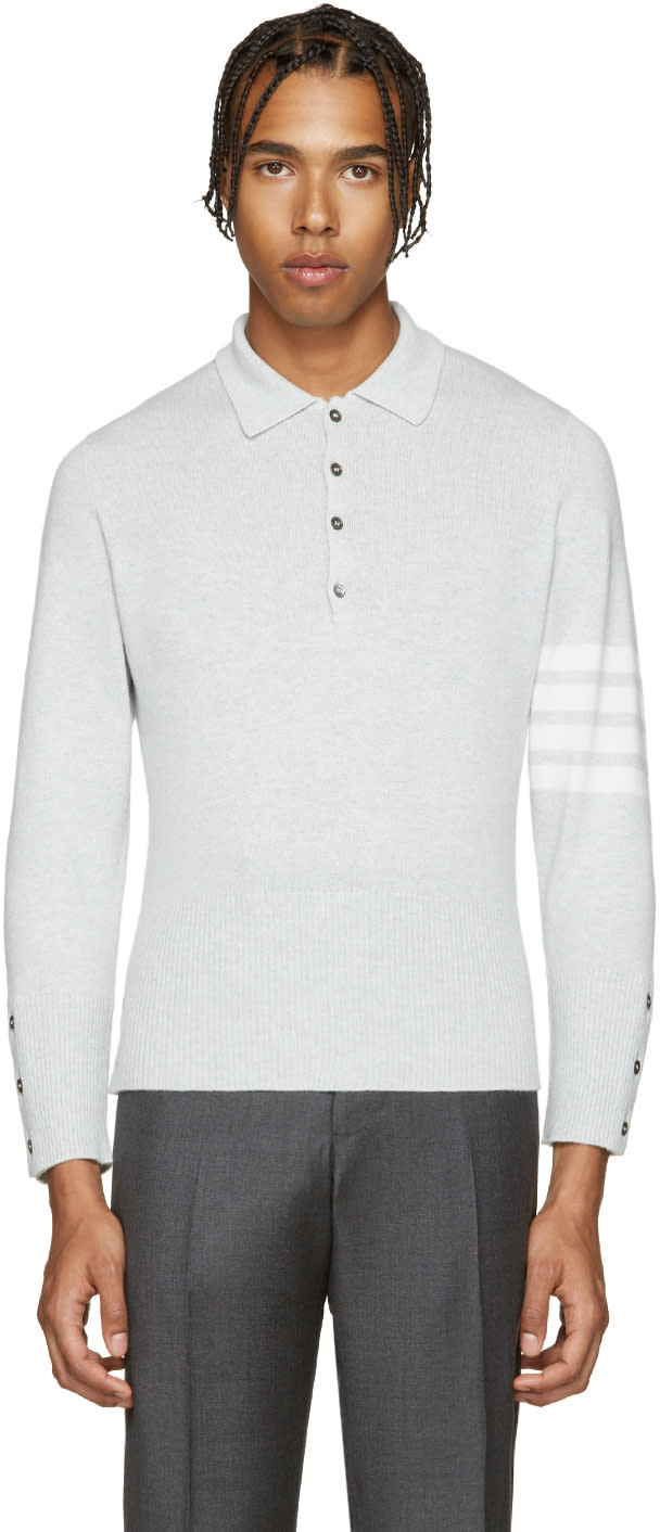 Thom Browne Grey Cashmere Polo