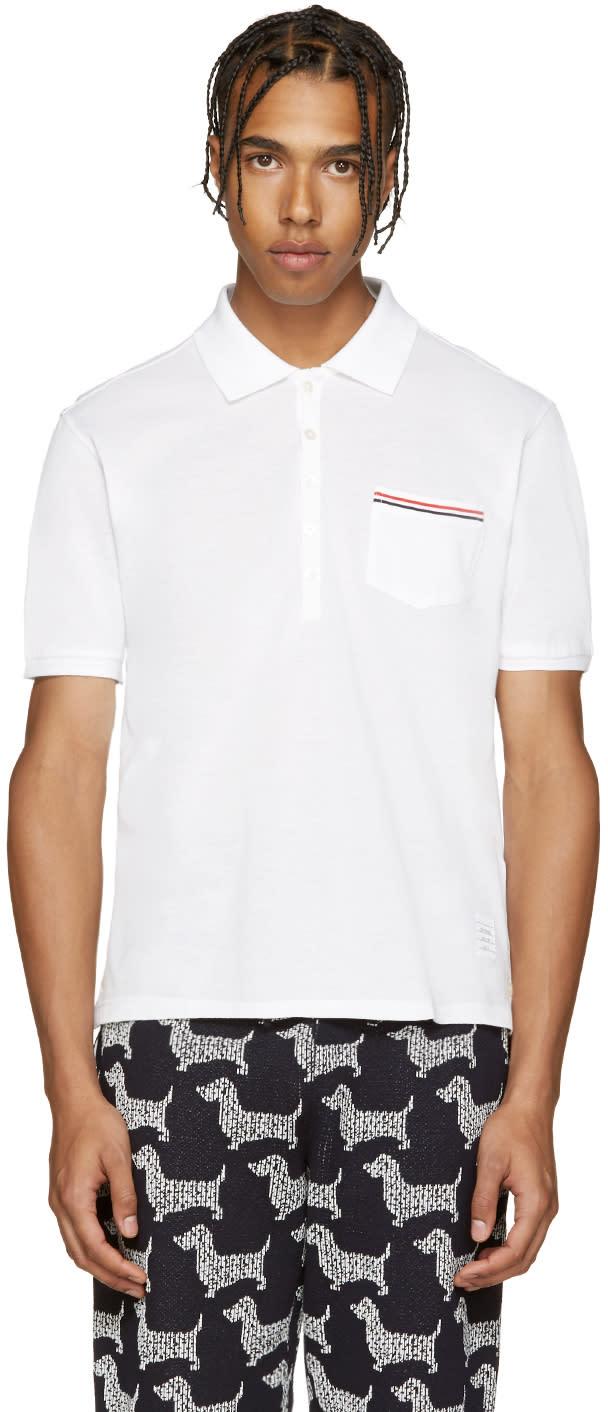 Thom Browne White Cotton Pique Polo