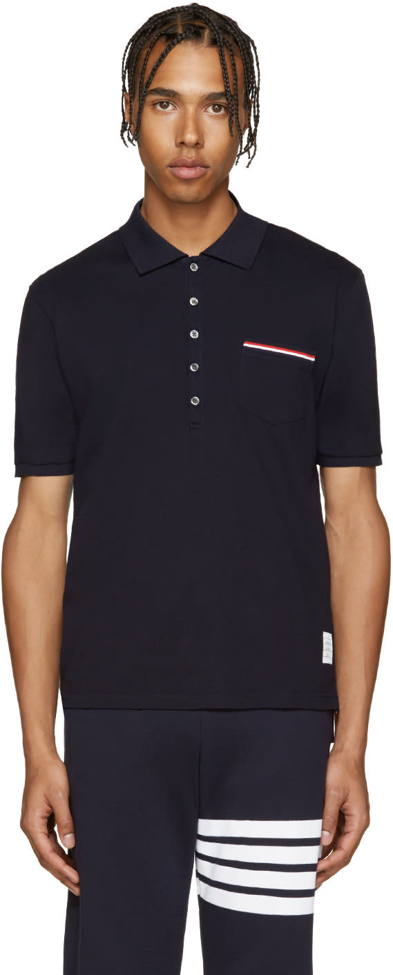 Thom Browne Navy Cotton Pique Polo