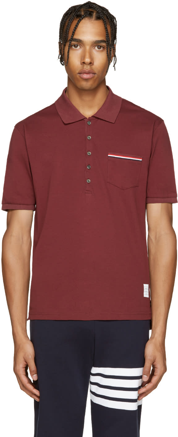 Thom Browne Burgundy Cotton Pique Polo