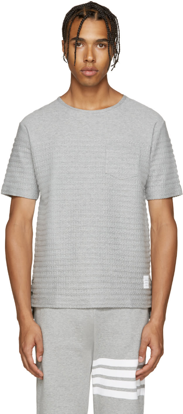 Thom Browne Grey Rope Stitched T-shirt