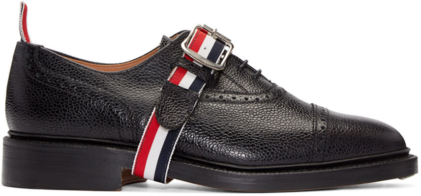 Thom Browne Black Leather Strap Brogues