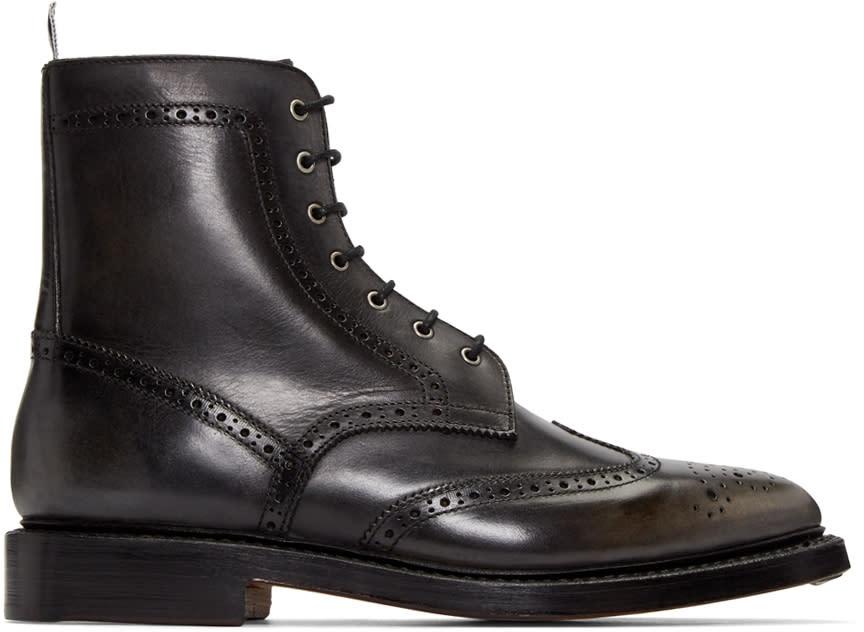 Thom Browne Black Distressed Wingtip Boots