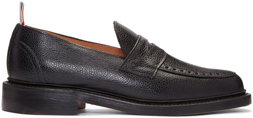 Thom Browne Black Pebbled Penny Loafers