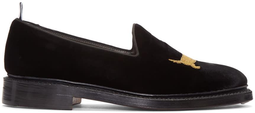 Thom Browne Black Velvet Hector Loafers