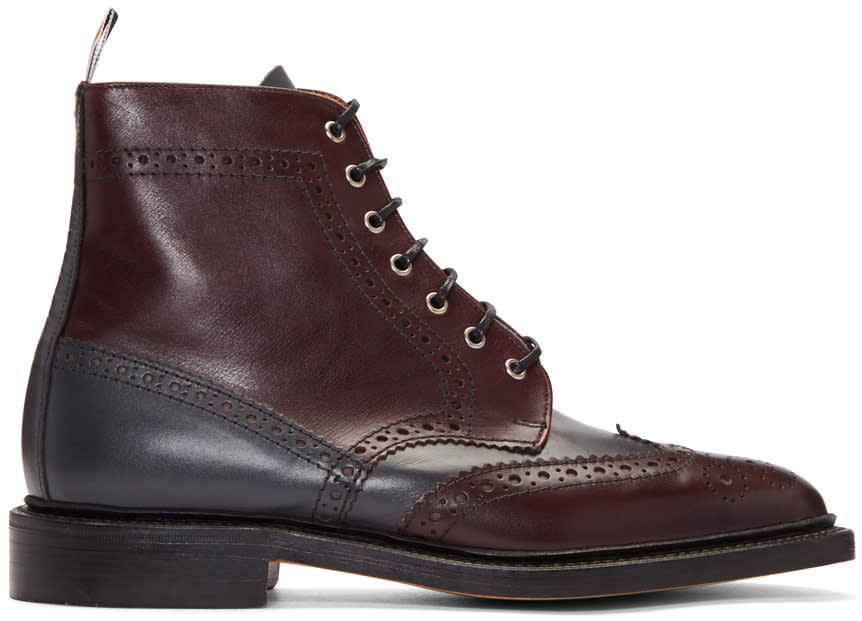 Thom Browne Burgundy Classic Wingtip Boots