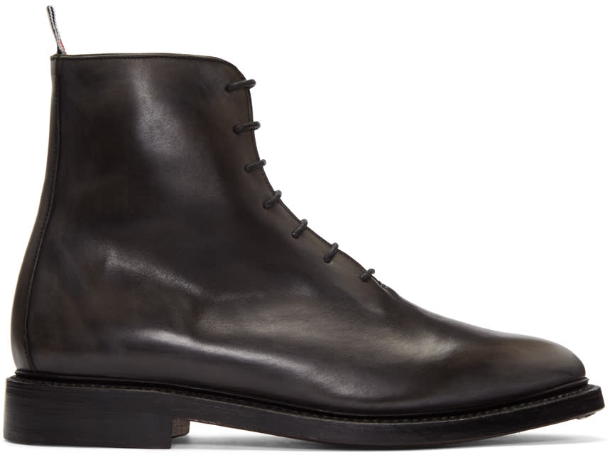 Thom Browne Black Wholecut Boots