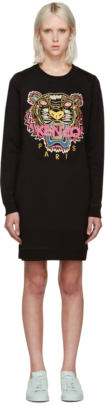 Kenzo Black Tiger Pullover Dress